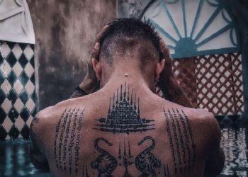 Sammlung von thailändischen Amulett-Tätowierungsmustern, die die meisten Menschen zum Tätowieren wählen