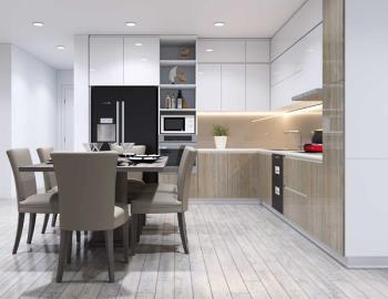 Ruang dapur modern yang indah untuk rumah tabung dan apartemen