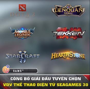 Dota 2, Lien Quan Mobile, Hearthstone, Mobile Legends Bang Bang, StarCraft II and Tekken 7 fixtures at Sea Games 30