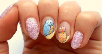 Nail Art Vögel mit Gefieder Emails