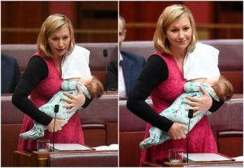 A senadora australiana faz história amamentando e falando com o Congresso