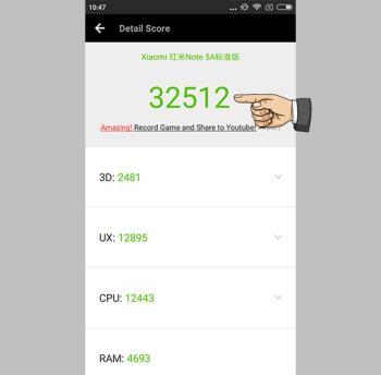 Antutu-Score auf Xiaomi Redmi Note 5A