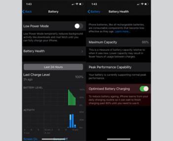 Pengecasan bateri yang dioptimumkan pada iOS 13