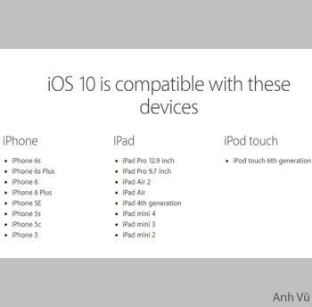 Daftar perangkat yang didukung oleh Apple ke iOS 10