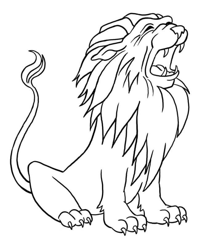 Ringkasan gambar pewarnaan singa yang indah