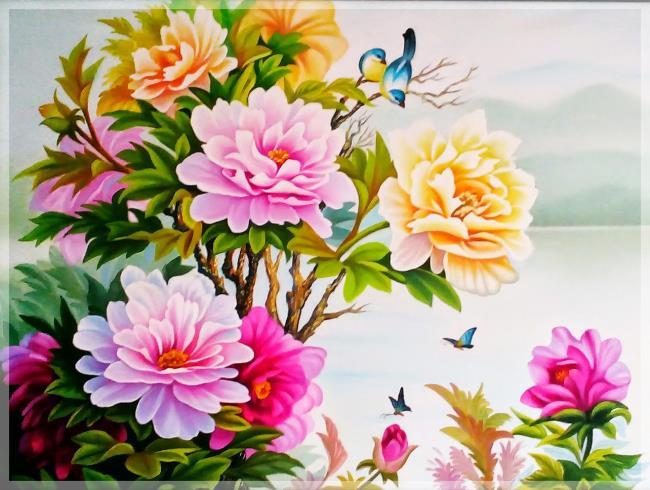 Schöne Ölgemälde Pfingstrosenblumen