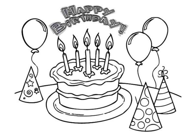 Colecție de imagini frumoase de colorat tort pentru ziua de naștere