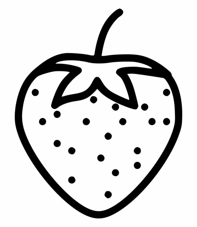 Strawberry Fruits coloring pages simple for kids, printable free | 749x650