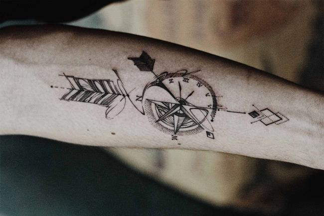 Zusammenfassung der aussagekräftigen Kompass-Tattoo-Muster
