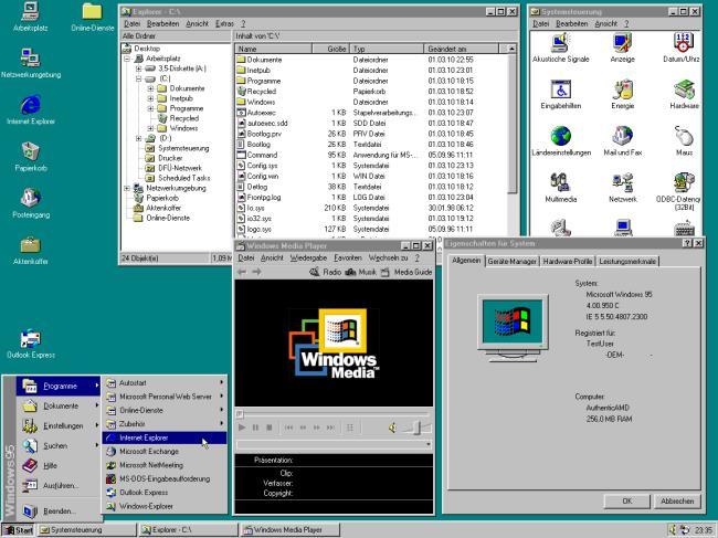 Windows 95 adalah sistem operasi pertama yang memunculkan menu Mula