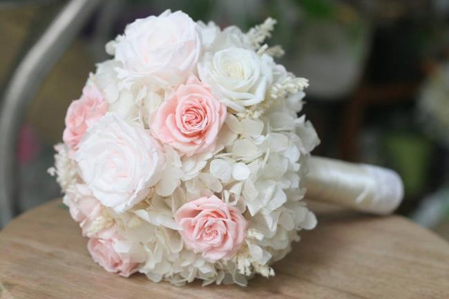 सबसे सुंदर हाथ में हाइड्रेंजस फूलों का सारांश