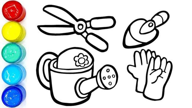 ملخص صور تلوين الأدوات الزراعية المقدمة للأطفال