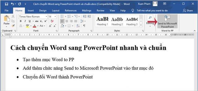 Щелкните значок «Отправить в Microsoft PowerPoint».