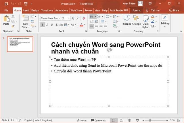 Конвертировать в PowerPoint