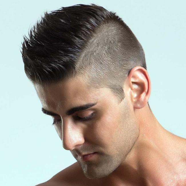 Short hair man shaves