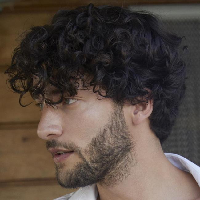 Short curly man hair