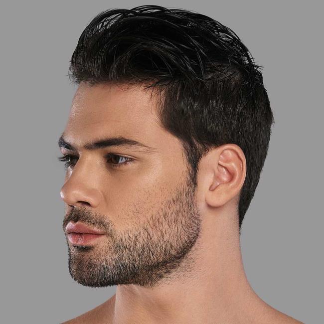 Short wavy man hair