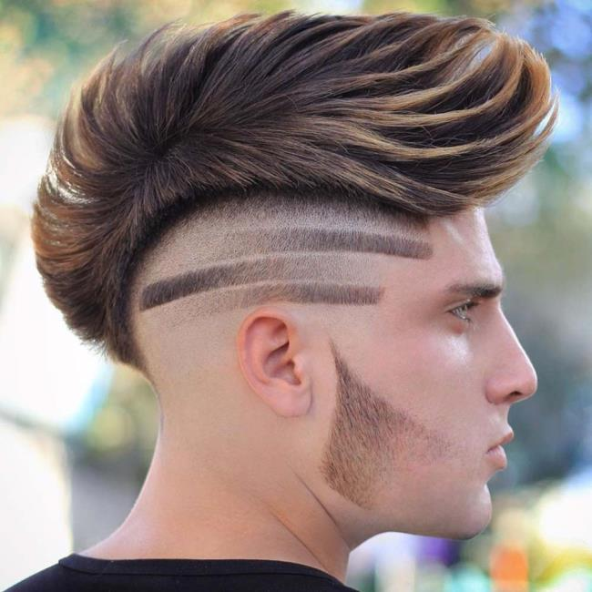 Short hair man geometric designs