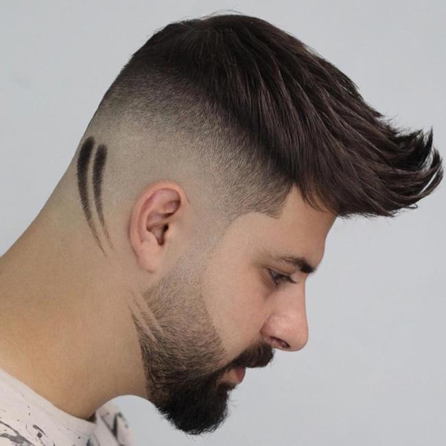 Short haircut man beard 2020