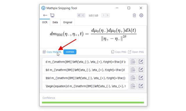 Siehe die Ergebnisse von Mathpix Snipping.  Klicken Sie dann auf die Schaltfläche MathML kopieren, um das MathML-Format in die Zwischenablage zu kopieren.