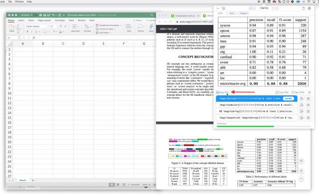 Siehe Ergebnisse von Mathpix.  Klicken Sie dann auf die Schaltfläche TSV kopieren, um den TSV in die Zwischenablage zu formatieren