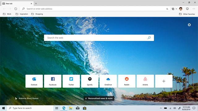 Interface Microsoft Edge Chromium