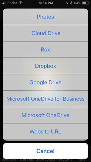 Teilen Sie den Zoom-Bildschirm unter iOS
