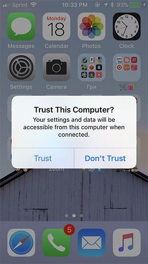 Wenn Sie unter iOS dazu aufgefordert werden, wählen Sie Vertrauen