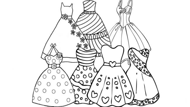 Collection of the most beautiful princess dress coloring pictures for kids