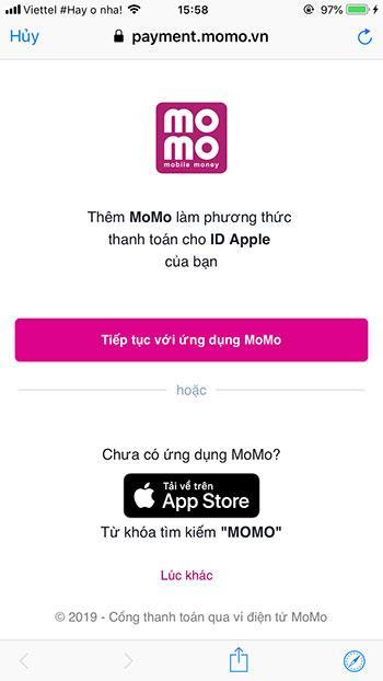 Complete o link do MoMo na App Store