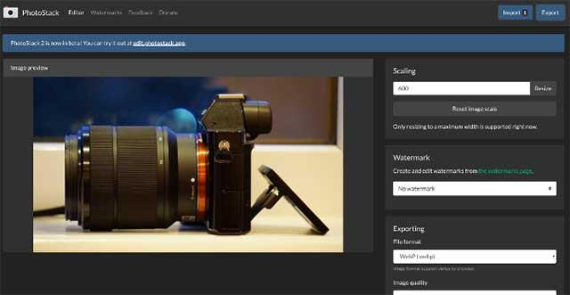 Photostack helps batch resize images and add Watermark