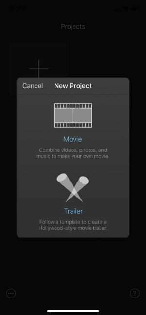 On the New Project screen, select Movie.