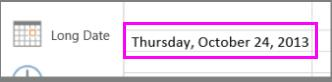 एक्सेल ऑनलाइन पर तारीखों के लिए लंबा प्रारूप