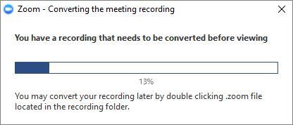 Zoom konvertiert die Aufnahme in Dateien, die Sie überprüfen können
