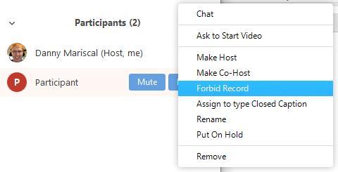Deaktivieren Sie die Videoaufzeichnungsrechte für Teilnehmer