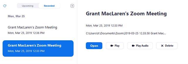 Klicken Sie auf die Registerkarte Aufgezeichnet und wählen Sie die Besprechung aus, die auf dem Gerät aufgezeichnet werden soll.