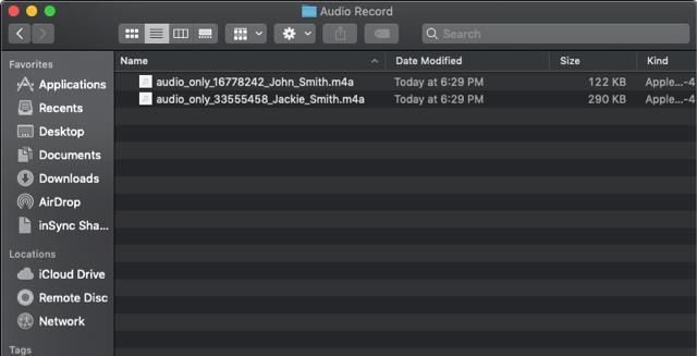Jede Aufnahme wird als separate Datei aufgeführt, wobei der Dateiname mit dem Namen des Teilnehmers endet