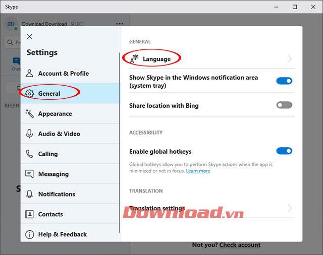 Paramètres de langue pour Skype
