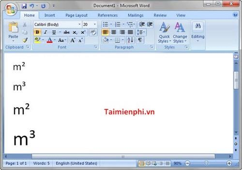 Guide type m2 m3 in word, excel, powerpoint