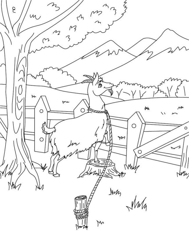 Koleksi gambar pewarna kambing lucu terbaik untuk kanak-kanak