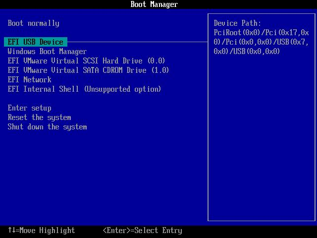 change BIOS to boot from USB