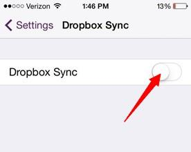 turn on dropbox sync on settings