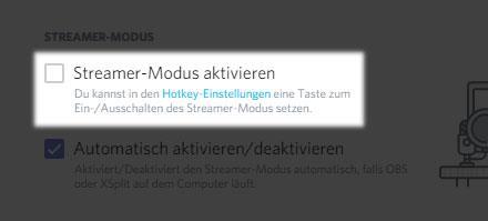 Discord: Streamer-Modus manuell aktivieren