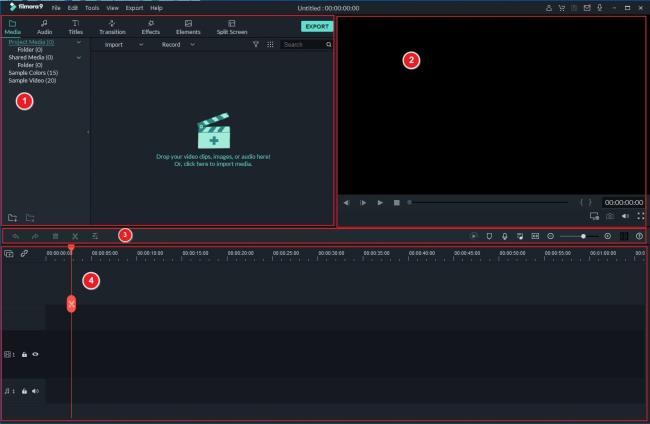 Filmoraインターフェース