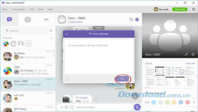 Viberコンピューターチャットグループでメッセージを固定する方法