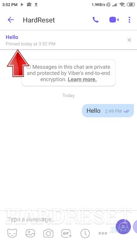 pinned a message in a Viber