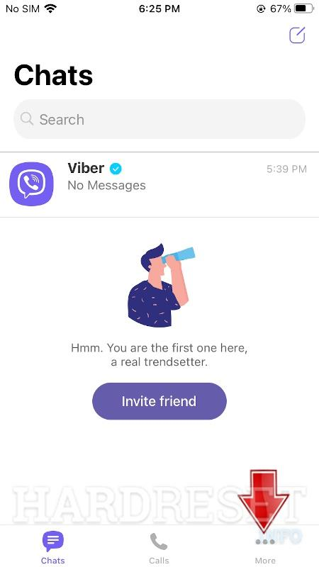 go to the Mote tab on Viber