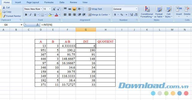 Comment obtenir la partie entière dun nombre dans Excel