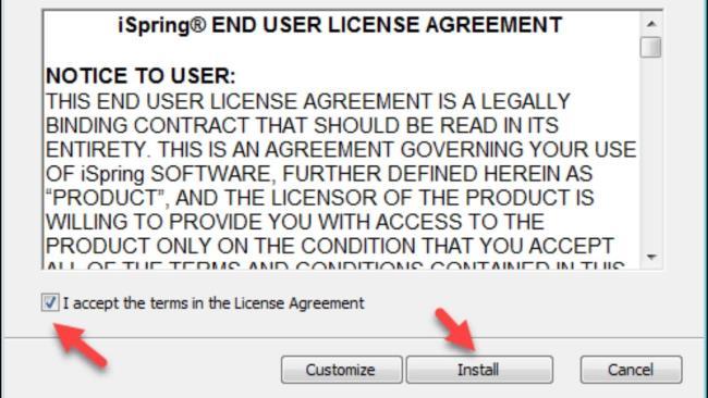 مرحله 2: من شرایط را در موافقت نامه مجوز قبول می کنم => نصب را انتخاب کنید