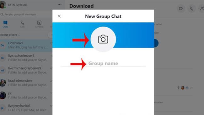 Назовите и добавьте аватар для группы